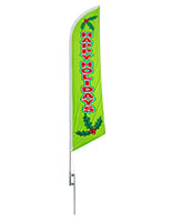 Happy Holidays green feather flag with seasonal message