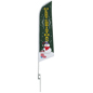 Merry Christmas green feather banner with seasonal color theme