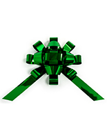 Metallic green giant holiday bow for showroom displays