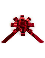 Shiny red holiday bow car ribbon with traditional design