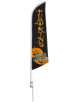 Halloween feather PUMPKINS message flag for holiday advertising