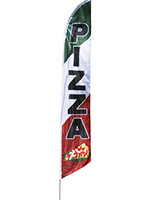 Feather flag with PIZZA graphic