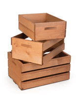 Wooden Display Crates with Set of 3