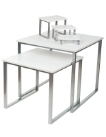 White Display Tables and Risers Set