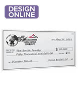 Giant custom novelty check with custom single-sided artwork