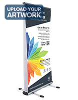 Wide outdoor double-sided banner stand digitally printed