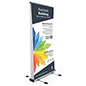 Wide outdoor double-sided banner stand with aluminum frame