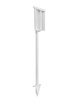 Freestanding white outdoor flyer holder with stake