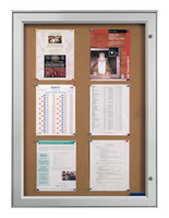 Enclosed Bulletin Board Cabinet w/ Waterproof Swing Open Locking Doors