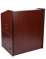 Mahogany presentation podium with locking cabinet