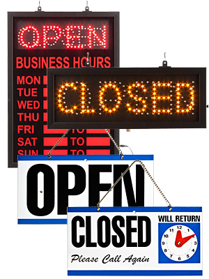 Open and Closed LED signs