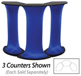 blue display pedestal for trade show booth