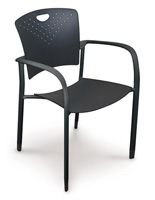 Black Stacking Chairs with Nylon Armrest