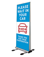 Please wait in your car pre-printed banner