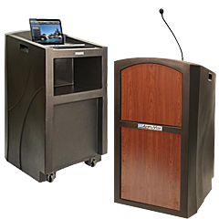 Outdoor-rated hostess stands and lecterns