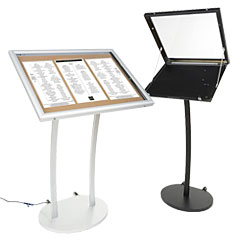 Exterior-rated menu stands
