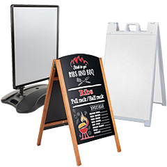 Portable sidewalk signs and marker boards