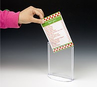 restaurant menu holder showcases a 4x6 card.