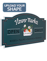 24 x 48 hanging outdoor shaped signs with custom printed graphics