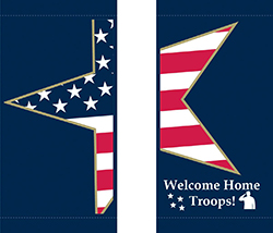 American flag street pole banner with custom text
