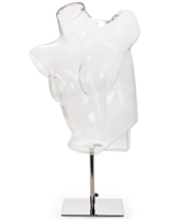 Clear Mannequin Torso Stand with Vertical Pose