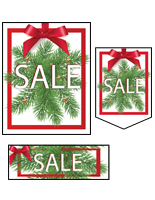 Multi-pack Christmas Sale retail sign kit with multiple sizes