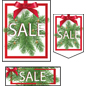 Multi-pack Christmas Sale retail sign kit with ribbon design