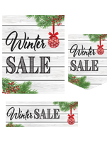 Multipack of Winter Sale posters in 3 different shapes