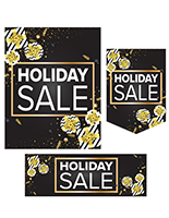 12 piece gift-themed holiday retail poster set