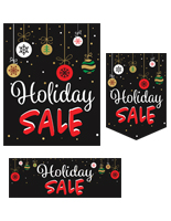 "Multipack of ""Holiday Sale"" business posters with preprinted graphics"
