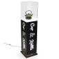 52.5 inch tall x 11.75 inch wide black custom lighted display pedestal for sculpture
