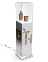 52.5 inch tall x 11.75 inch wide laminate lighted custom display pedestal with silver base