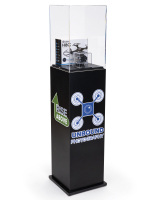 52.5 inch tall x 11.75 inch wide custom acrylic display pedestal with black plinth