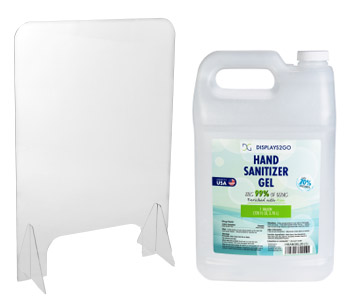 Personal protective equipment includes sneeze guards and hand sanitizer