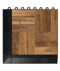 1' x 1' Dark Oak Interlocking Plastic Tiles