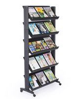 literature display shelf with wheels