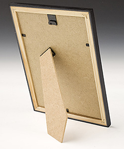 Reverse side of a tabletop picture frame