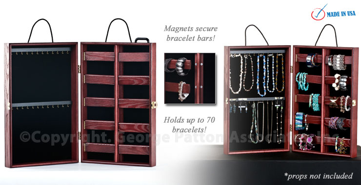 portable jewelry showcase ash wood w cherry finish. Black Bedroom Furniture Sets. Home Design Ideas