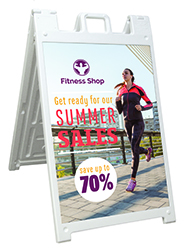 plastic A-frame with custom printed sign boards