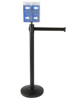 Durable Black Stanchion & Post with Literature Holder