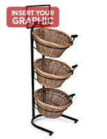 3 tier basket stand with sturdy powder-coated steel frame