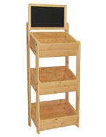 Wood Display Stand with Chalkboard Header