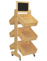Wood Display Rack with Wheels
