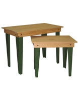 Rustic Wood Nesting Tables with Green Legs