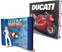 These pop up display stands include custom printed graphics.