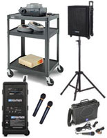 Huge assortment of portable AV equipment including carts and audio systems.