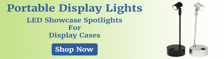 Battery powered portable spotlights for display cases