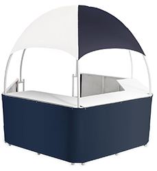 portable event booth tent with counters in blue and white