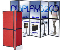 These portable show displays are often used to display marketing signs and promotional literature.
