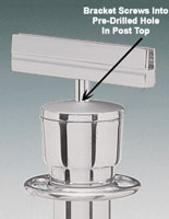 Polished Chrome Post Top Bracket For Traditional Rope Posts